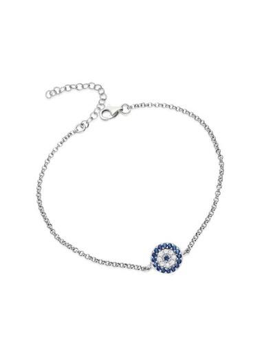 Aykat Zincirli Nazar Boncuklu Bileklik Bayan Bilekliği Gümüş